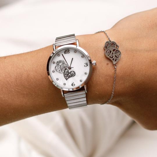 Relógio Coração de Viana Lux em Aço